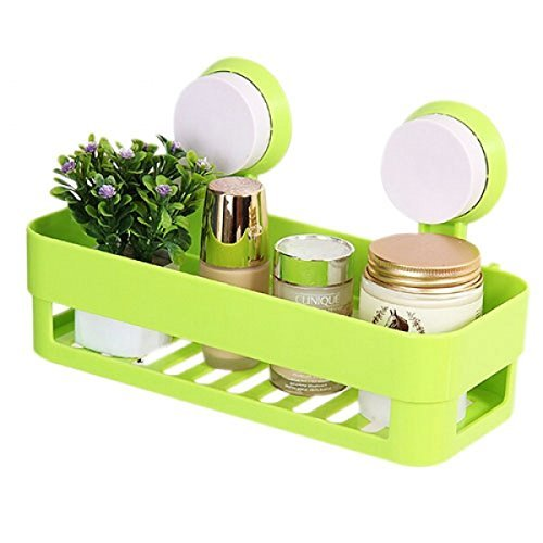 Onmall Plastic Inter Design Bathroom Kitchen Organize Shelf Rack Shower Corner Caddy Basket With Wall Mounted Suction Cup (1pc) (Assorted color)