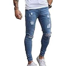 7c59195d48 Skinny Vaqueros Hombre - Fashion Slim Pantalones Rotos con Bolsillos Casual  Verano Primavera Pantalón Mezclilla Rasgado