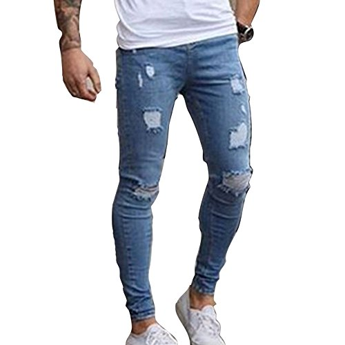 Uomo taglie forti pantaloni lunghi, stretch skinny slim pantaloni rotti con cerniera jeans da uomo pantaloni strappati
