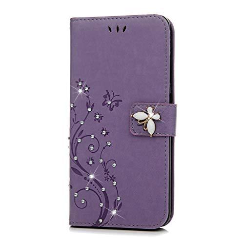 Mlorras Hülle für Huawei Mate 20, Geprägte Schnalle vorne Leder Handyhülle Klappbares Brieftasche Schutzhülle Wallet Case Cover mit Integrierten Kartensteckplätzen Helles Lila -