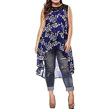 Lenfesh Camiseta sin Mangas con Estampado para Mujer Blusa sin Mangas Tops Casual Camisa de Moda