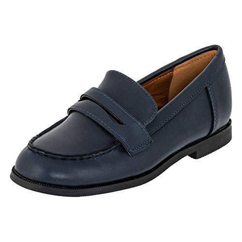 Festliche Kinder Jungen Anzug Schuhe Slipper Halbschuhe M549dbl Dunkel Blau EU 28 (Für Kommunion Schuhe Jungen)