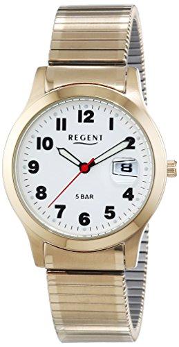 Regent 11300026 - Reloj para hombres, correa de acero inoxidable chapado color dorado