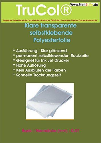 15x A4 klar transparente Selbstklebefolie für Ink Jet Drucker! Beschichtete Polyesterfolie für Tintenstrahldrucker für Innenanwendungen Aufklebern Etiketten Beschriftungen Werbezwecke -