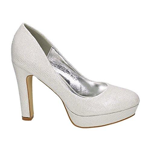 sche Damen Glitzer Pumps Stilettos High Heels Plateau Abend Schuhe Bequem 315 (38, Weiß) (Braut High Heels)