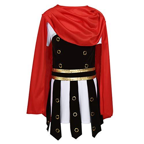 Freebily Kinder Jungen Römer Kostüm Krieger Cosplay Outfit Mittelalter Tunika mit Rüstung Umhang für Halloween Party Verkleidung Rot & Weiß 122-134/7-9Jahre (Kleinkind Krieger Kostüm)