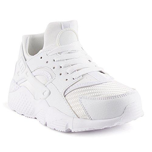 FiveSix Damen Sneaker Sportschuhe Laufschuhe Freizeitschuhe Textilschuhe Schnürschuhe Low-Top Schuhe Weiß