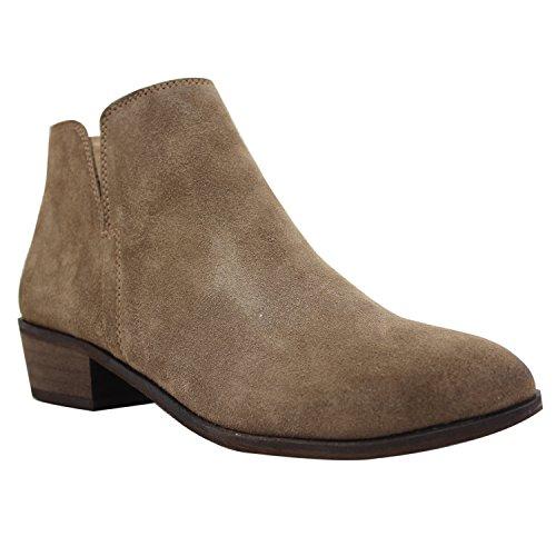 LiKing 45-1 Damen Chelsea Boots Kurzschaft Stiefel Echt Leder (Fällt eine Nummer kleiner aus) Khaki