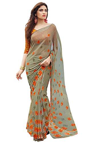 Shaily Retails Women's Georgette Saree With Blouse Piece (Siya-9007_Grey & Orange)