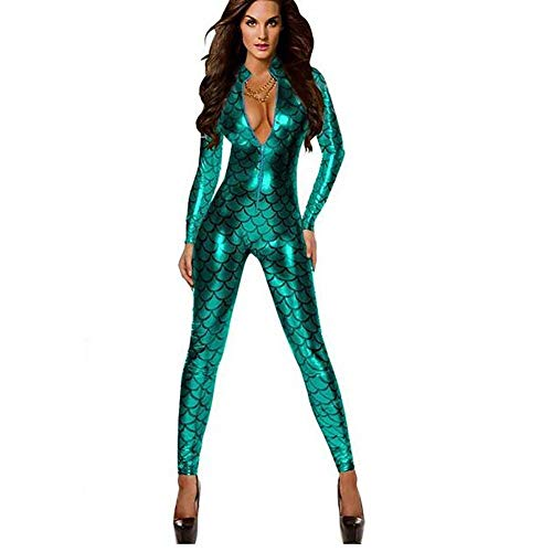 TOOSD Frauen Latex Bodysuit DS Nightclubs Dance Fish Dragon Scales Metallic Latex Elasticity Catsuit Faux Leder Jumpsuit Front Zipper Long Sleeve Stage Equipment,Green,OneSize (Dragon Dance Kostüm)