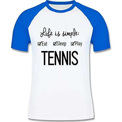 Tennis - Life is simple Tennis - zweifarbiges Baseballshirt für Männer Weiß/Royalblau