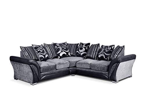 Brand new beautiful shannon divano ad angolo in visone/marrone e nero/grigio con cuscini corner sofa black/grey