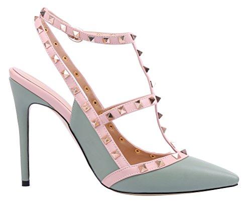 MONICOCO oversize candy boucle t-spangen creux couleurs de chaussures en cuir verni escarpins avec rivets Grün PU