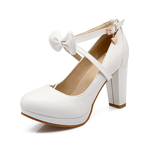 AgooLar Femme Couleur Unie Pu Cuir à Talon Haut Rond Boucle Chaussures Légeres Blanc