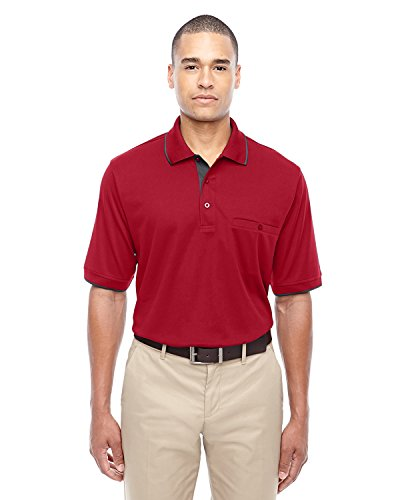 Men's Motive Performance Pique Polo with Tipped Collar CL RED/ CRBN 850 2XL (Pique Performance Polo)