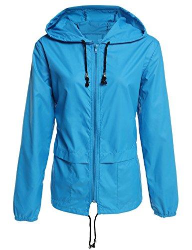 Caeasar Funktionsjacke Wasserdicht Winddicht Übergangsjacke Regenjacke mit Kapuze Tasche Regenparka Atmungsaktiv Damen Jacke Azurblau XXL