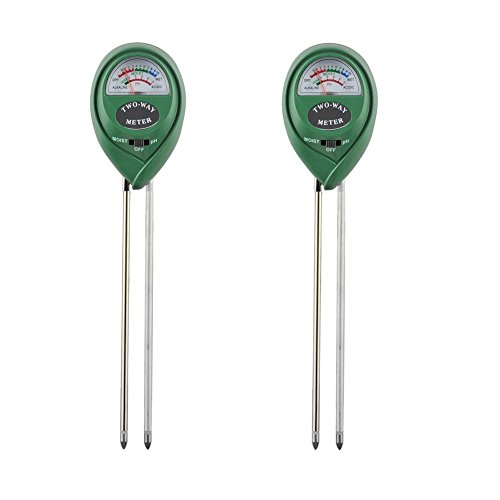 XLUX T12 2 in 1 Erde PH und Feuchtigkeit Messgerät Tester für drinnen und draußen Pflanzen Garten & Gras Rasen, 2er Pack