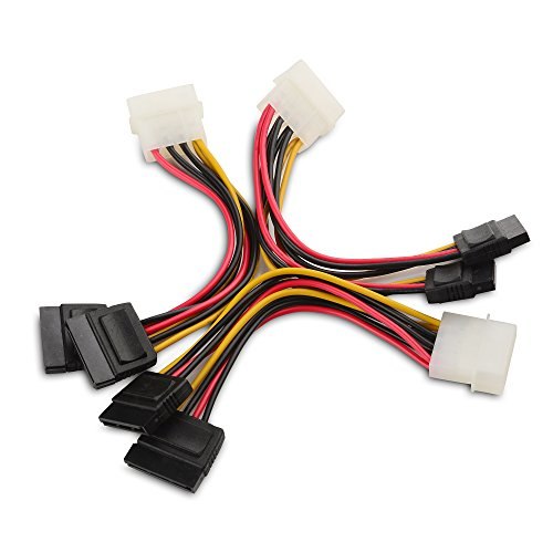 Cable Matters® 3 Pack 4 Pin Molex to Dual SATA Power Y-Cable Adapter- 15cm