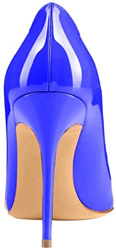ELEHOT Femme 10cm Taille EU 34-46 Toyis Aiguille 10CM Synthétique Escarpins Bleu