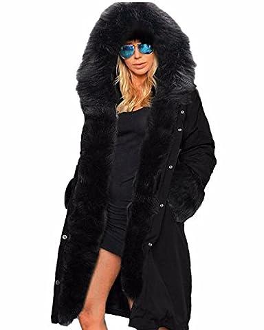 ZANZEA Hiver Femme Chaud Epaise Fourrure Capuche Longue Fleece Parkas Militaire Manteau Veste Blouson Longue Noir 2 EU 38-40/ US 6-8 UK 10-12