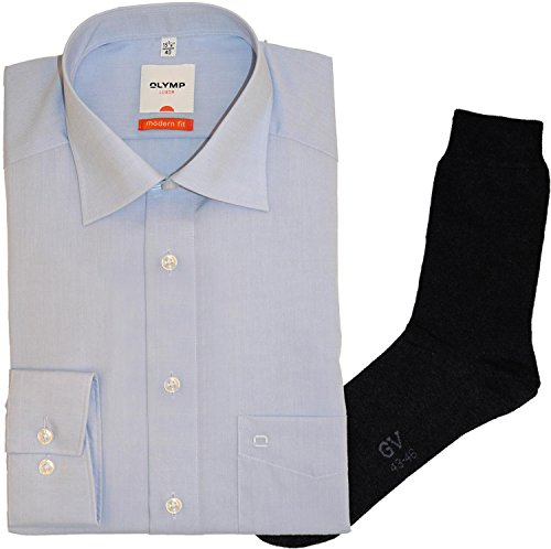 Olymp Hemd Luxor Modern Fit - blau, extra kurzer Arm 58 cm, New Kent Kragen + 1 Paar hochwertige Socken, Bundle Blau