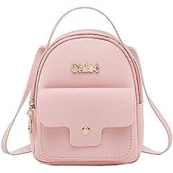 Bolsos Mochilas Casual Pequeño Simple de Moda Monedero Carta de Mujeres para Viaje y Escuela Paquete de Diario y Ocio Messenger Bag Backpack Lindo (Rosa)