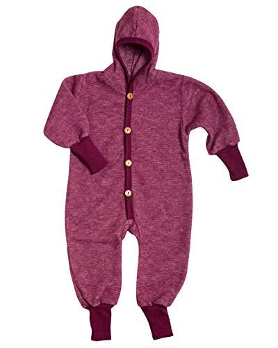 Cosilana Baby Kinder Fleece Overall mit Bündchen am Armen und Füßen, 60% Wolle (kbT), 40% Baumwolle (KBA) (74/80, Weinrot Melange)