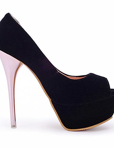 WSS 2016 Chaussures Femme-Habillé / Décontracté / Soirée & Evénement-Noir / Rouge-Talon Aiguille-Talons / Bout Ouvert / A Plateau-Talons-Similicuir black-us9 / eu40 / uk7 / cn41