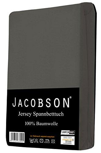 Jacobson Jersey Spannbettlaken Spannbetttuch Baumwolle Bettlaken (60x120-70x140 cm, Anthrazit) - 2