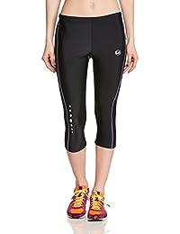 Ultrasport 10153 - Pantalones 3 / 4 para mujer, color negro / morado, talla M