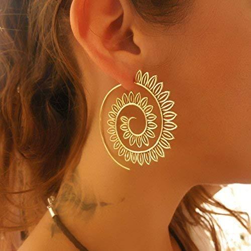 Ohrringe aus Messing - Messing Spirale Ohrringe - Zigeuner Ohrringe - Stammes-Ohrringe - ethnische Ohrringe - Indische Ohrringe - Erklärung Ohrringe - große Ohrringe - Messing Schmuck Groß Stamm