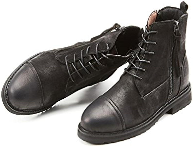 Zapatos de marea alta botas retro invierno felpa con cremallera cintur¨®n con discapacidad , black , 39