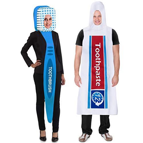 Tigerdoe Kostüm Zahnbürste und Zahnpasta - 2-teiliges Set - Paar-Kostüme - Halloween-Kostüme - lustige (Zwei Freunde Kostüm)