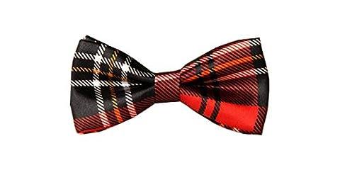 UtopyaUK® Kids Boys Children Satin Solid & Novelty Wedding Party Adjustable PreTied Bow Tie Quality Dickie (Tartan Red &
