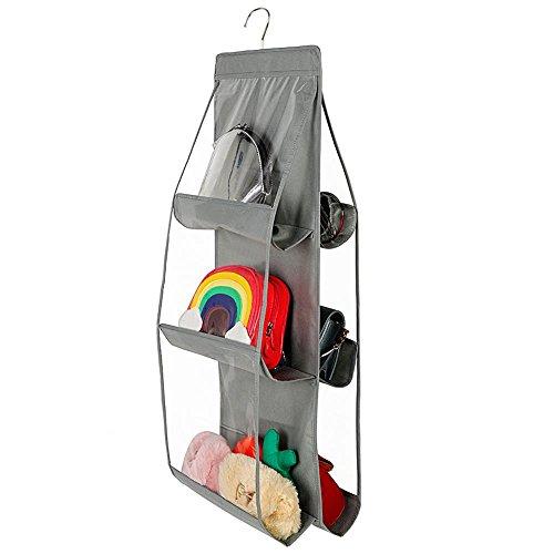 Fdit Aufbewahrungstasche mit 6 Fächern, zum Aufhängen von Taschen, für Kleiderschrank, Aufbewahrungstasche, Stoff, Socialme-EU grau (Kleiderschrank Von Taschen Aufhängen)