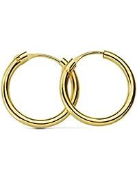 Aros oro amarillo 18k Morgana 14mm - Pendientes de mujer / niña / joven