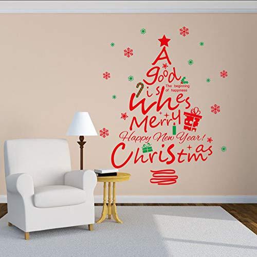 Ljtao Kreative Abnehmbare Weihnachten Serie Wandaufkleber Großhandel Rot Weihnachtsbaum Hintergrund Glas Schrank Wand Stickers87X108Cm (Gläser Rote Großhandel)