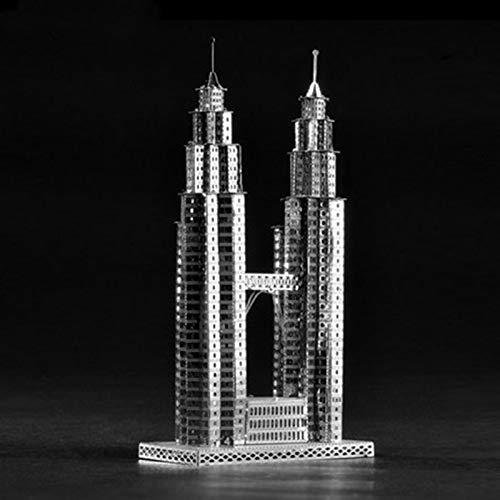 MQKZ Twin Towers 3D Metallic Puzzles Handmontierte Hausmodelle Kreative Erwachsenenbildung Spielzeug SilberEinheitsgröße