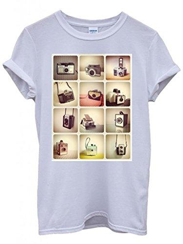 Retro Cameras Photography Cool Funny Hipster Swag White Weiß Damen Herren Men Women Unisex Top T-Shirt Weiß