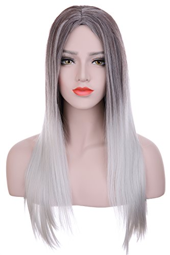 Hxhome Long pour femme Straight foncé racines ombré Noir au dégradé de gris Perruque de cheveux synthétiques (dégradé)