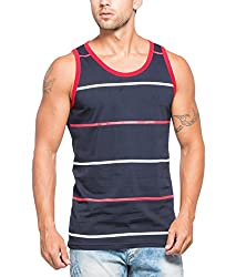 Alan Jones Striped Mens Cotton Vest
