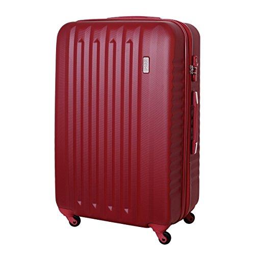 XXL Karry Hartschalen Koffer Reisekoffer Trolley TSA Zahlenschloss Reise 100 Liter Dunkel Rot 811