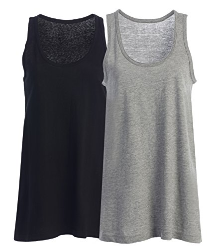 Loose Fit Relaxed Flowy Strickpullunder Vest Top für Frauen und Junioren 2 PK BLACK GRAY
