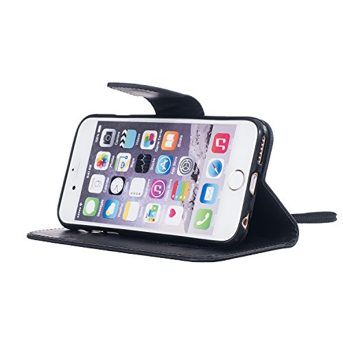 Hanyhülle iPhone 6s Leder, LuckyW PU Leder Feder Vogel Where There is a Life There is a Hope Freedom Muster Hülle für Apple iPhone 6 6S (4.7 zoll) TPU Soft Rückseite Abdeckung Ledertasche Brieftasche  Schwarz