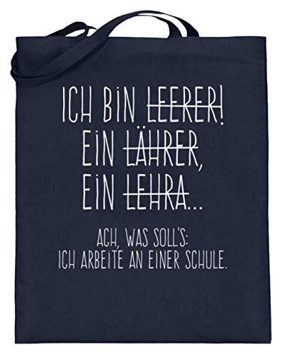 Shirtee Perfekt für alle Lehrer! - Jutebeutel (mit langen Henkeln) -38cm-42cm-Deep Blue