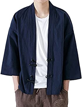 Mirecoo - Abrigo - capa - Básico - cuello mao - manga 3/4 - para hombre