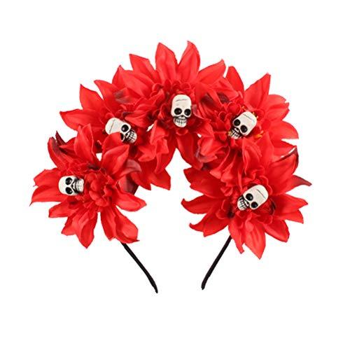 Amosfun Halloween Stirnband künstliche Blume Totenkopf Kostüm Kleid Up Cosplay Baby Mädchen Kinder Party Supplies