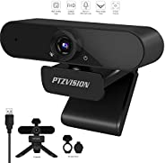 1080P HD Webcam with Mic, PTZ VISION 360 Degree Rotate External USB Video Camera for Desktop PC,Widescreen Plu