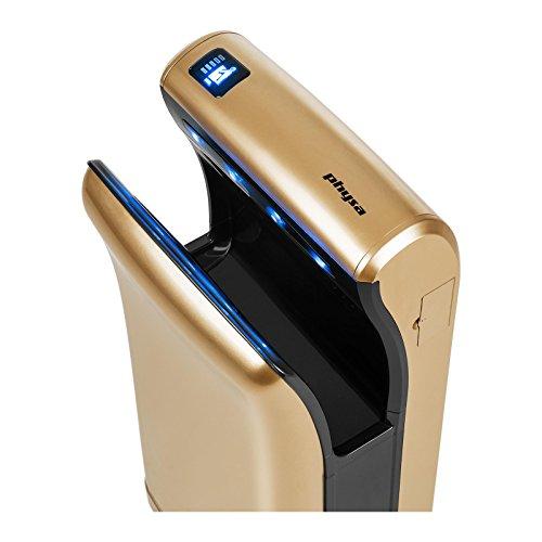 Physa BARI GOLD Händetrockner Airblade (elektrisch, 5s, LED-Display, 1.200W, 230V, Luftgeschwindigkeit: 90 m/s, 32.000 U/min, IPX4, inkl. Montagezubehör) Gold