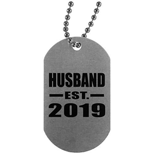 Husband Established EST. 2019 - Silver Dog Tag Militär Hundemarke Silber Silberkette ID-Anhänger - Geschenk zum Geburtstag Jahrestag Muttertag Vatertag Ostern (Silver Tags Dog)